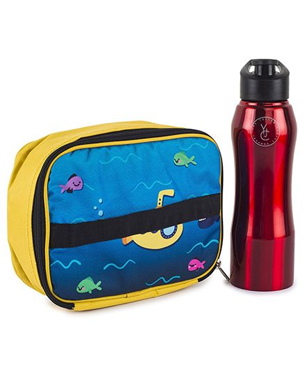 The Yellow Jersey Company Lunch Bag & Bottle Set Marine Print - Yellow Red