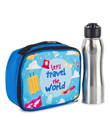 The Yellow Jersey Company Lunch Bag & Bottle Set Travel Print - Blue Silver