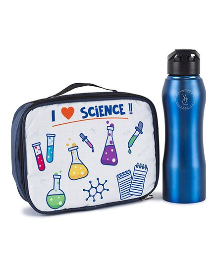 The Yellow Jersey Company Lunch Bag & Bottle Set Scientist Print - Blue