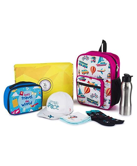 The Yellow Jersey Company School Kit of 6 Travel Theme - Pink