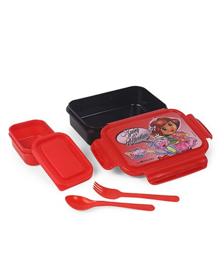 Dora Lunch Box With Spoon & Fork - Red & Black
