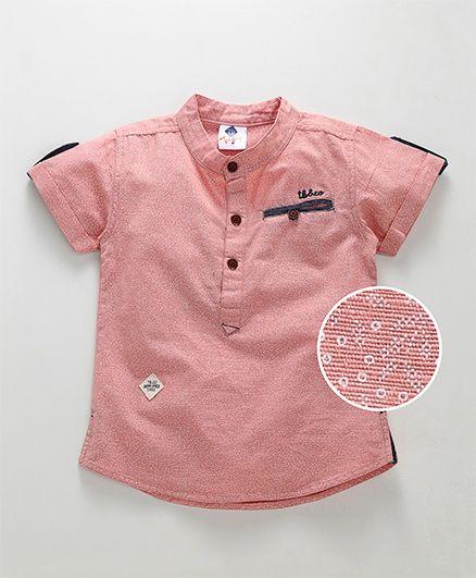 Tonyboy Mini Floral Self Print Shirt With Welt Pocket - Peach