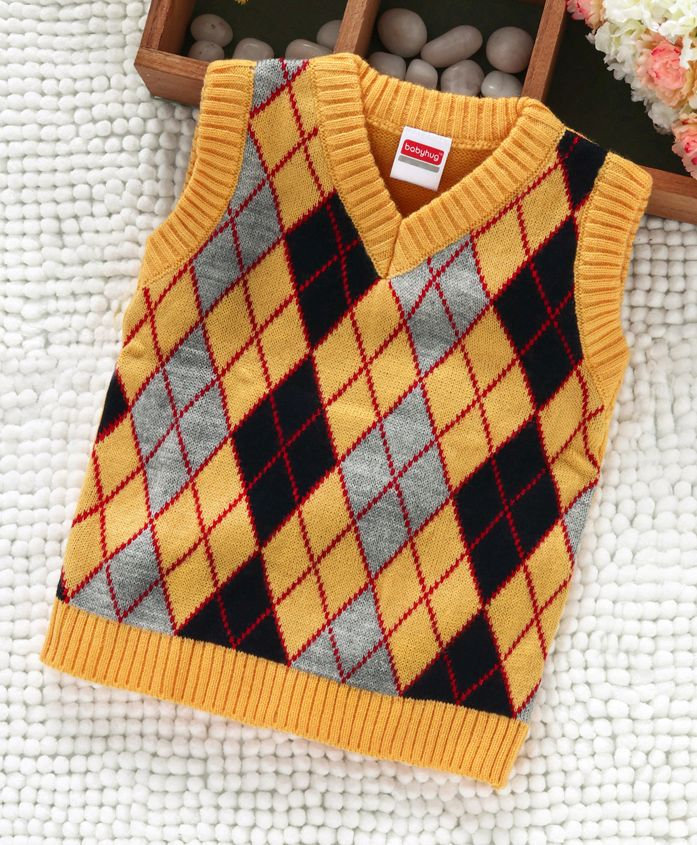 Babyhug Sleeveless Sweater Diamond Design - Yellow