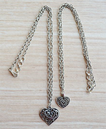 Pretty Ponytails Set Of 2 Filigree Heart Design Necklace - Silver