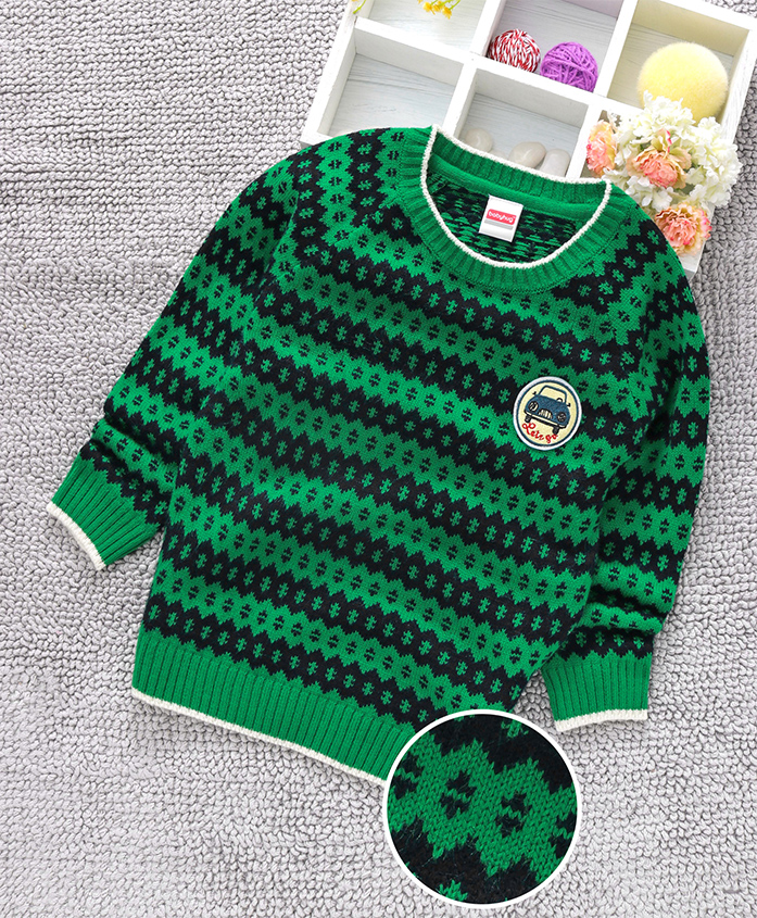 Babyhug Full Sleeves Sweater Self Design - Green