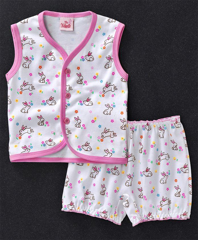 Baby Naturelle & Me Sleeveless Night Wear Bunny Print - White Pink
