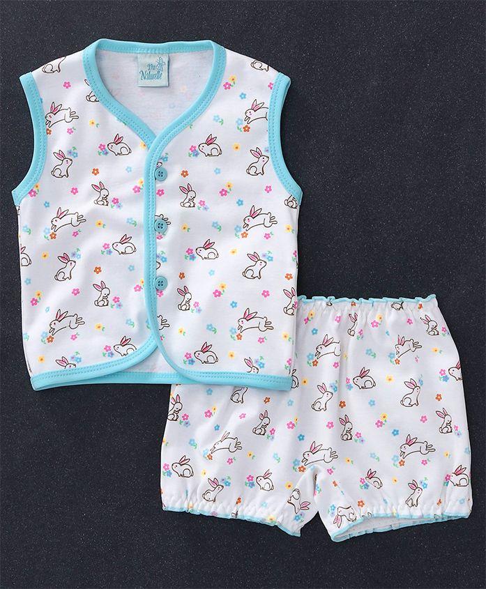 Baby Naturelle & Me Sleeveless Night Wear Bunny Print - White Aqua Blue