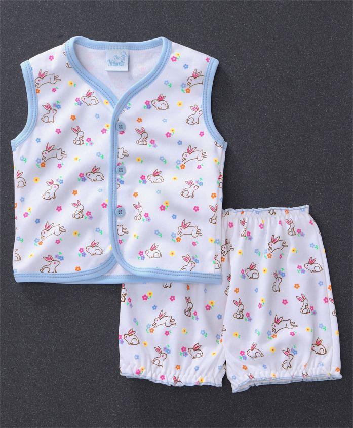 Baby Naturelle & Me Sleeveless Night Wear Bunny Print - White Sky Blue