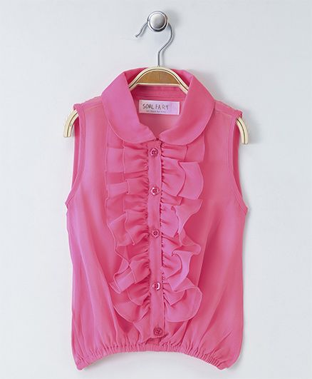 Soul Fairy Ruffled Sleeveless Collared Blouse - Pink