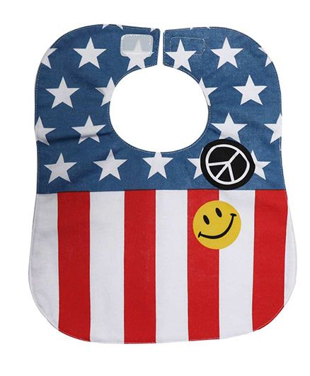 Little Hip Boutique Stars & Strips Waterproof Bib - Red & Blue