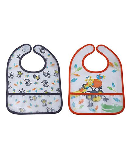 Little Hip Boutique Monkey & Giraffe Bibs Set - Orange & Grey