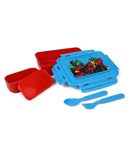 Marvel Avengers Lunch Box With Spoon & Fork - Red Blue