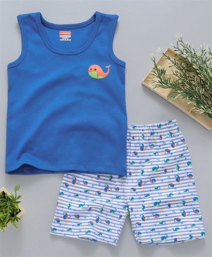 Babyhug Sleeveless Nightwear Whale Print - Blue