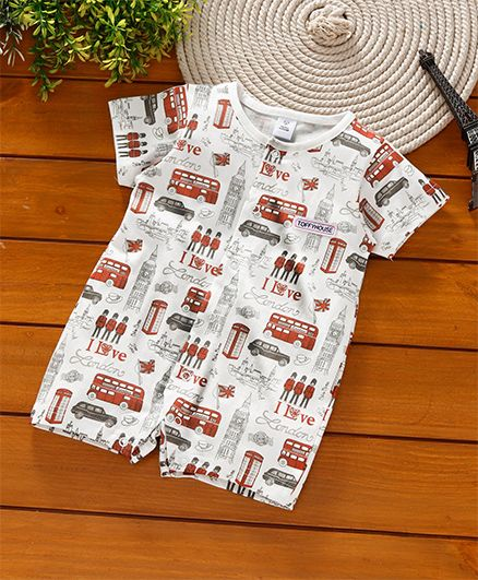ToffyHouse Short Sleeves Sleep Suit City Print - White