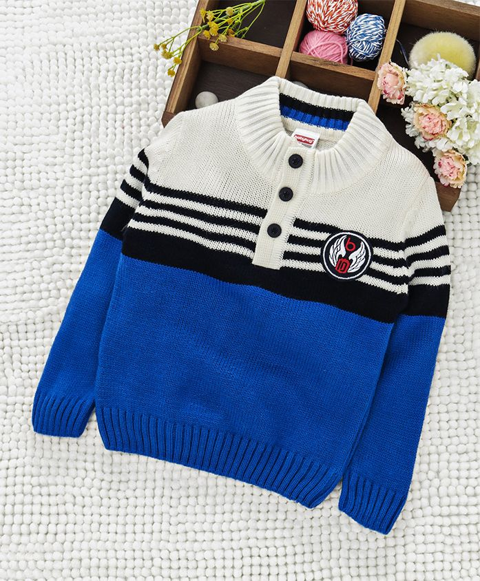 Babyhug Full Sleeves Front Open Striped Sweater - Blue