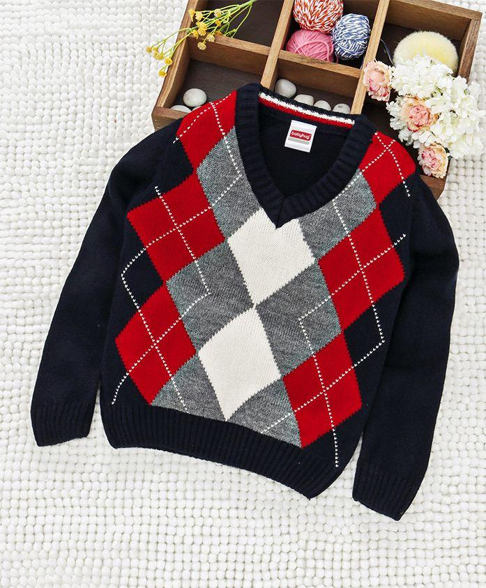Babyhug V Neck Checked Sweater - Navy