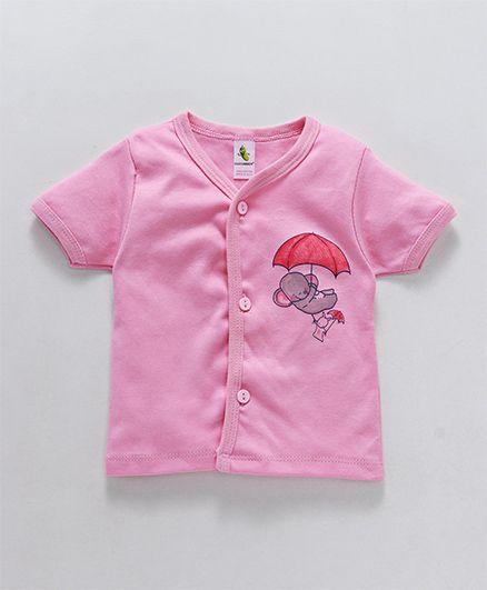 Cucumber Half Sleeves Vest Umbrella Print - Pink