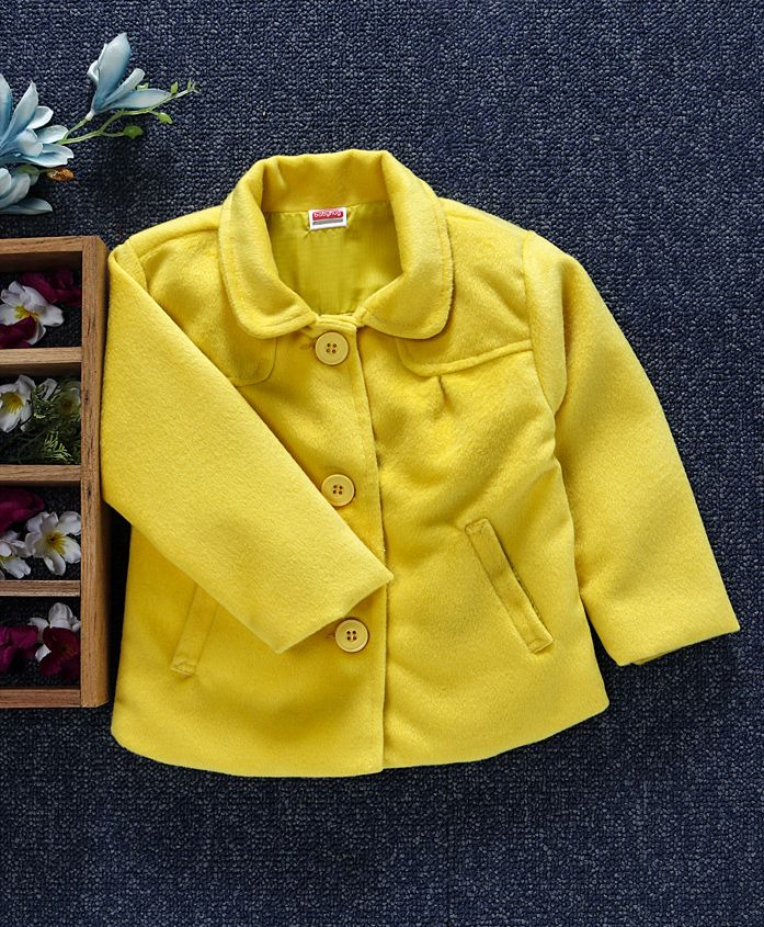 Babyhug Full Sleeves Front Open Solid Jacket - Yellow
