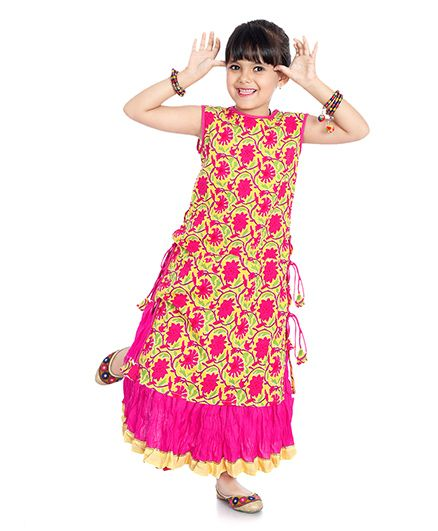 Little Pockets Store Floral Print Kurti & Lehenga Set - Pink & Yellow