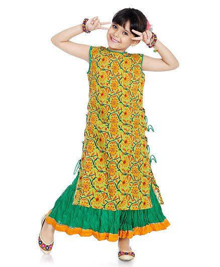 Little Pocket Store Floral Print Kurti & Lehenga Set - Yellow & Green