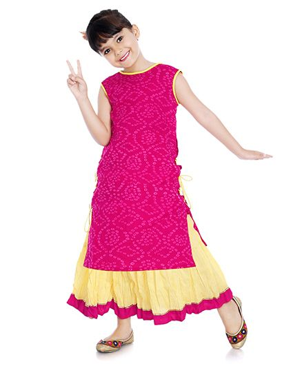 Little Pockets Store Printed Kurta & Lehenga Set - Pink