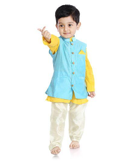 Little Pocket Store Solid Print Nehru Jacket - Green