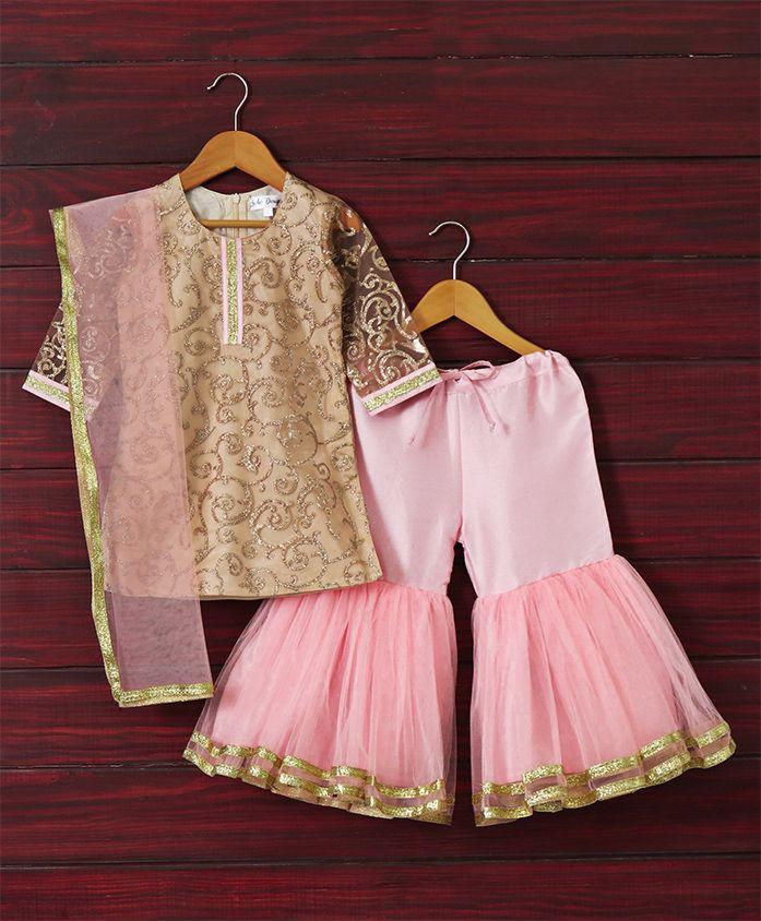 Saka Designs Full Sleeves Kurta & Divider Lehenga Ethnic Set Glitter Spiral Embroidered - Gold Pink