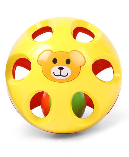 Baby Twist & Turn Rattle Ball Bear Print - Yellow Red