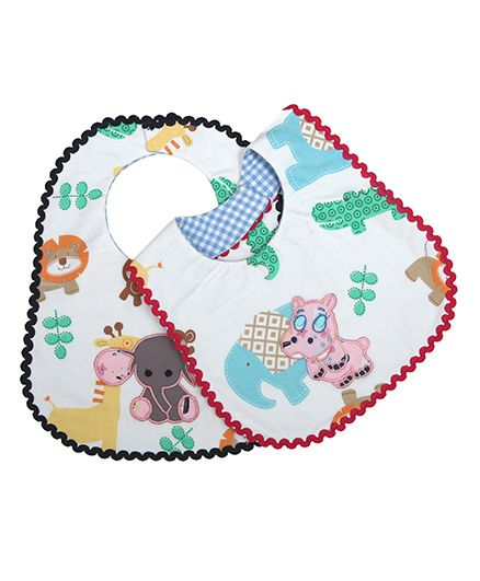 Princess & Her Bunny Baby Elephant Embroidered Bibs Set Of 2 - Multicolor