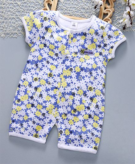 ToffyHouse Short Sleeves Sleep Suit Floral & Bee Print - Blue