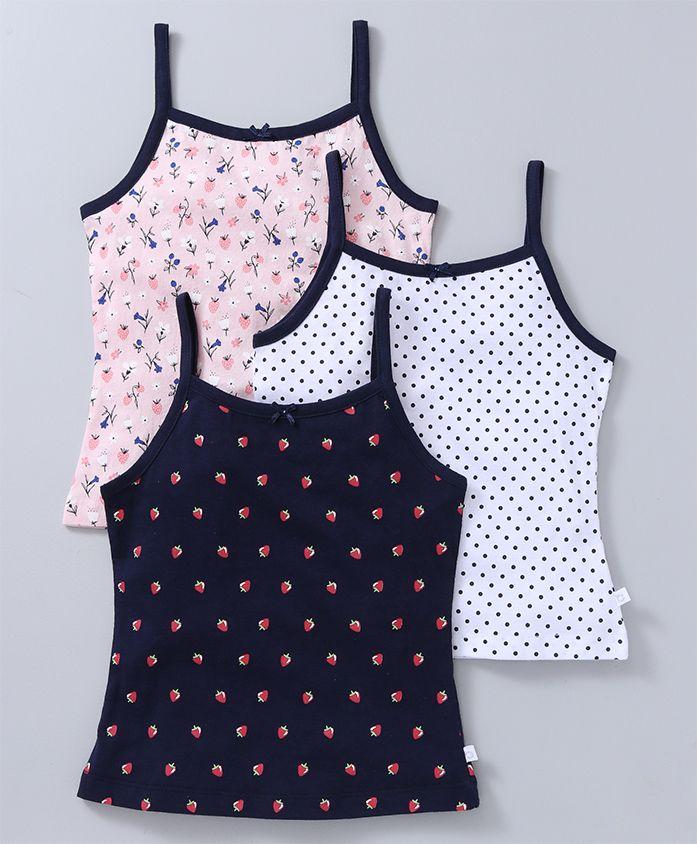 Babyoye Singlet Slips Strawberry Print Pack of 3 - Pink Navy White