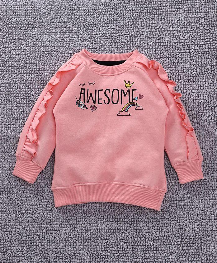 Babyoye Full Sleeves Sweatshirt Text Print - Pink