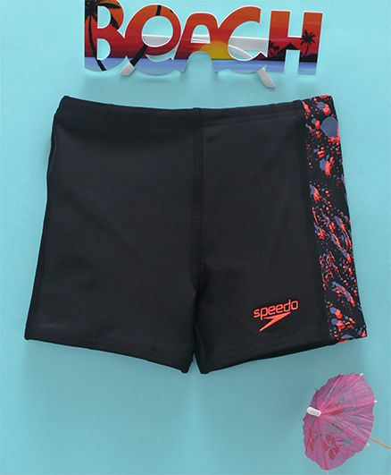 Speedo Side Printed Swimming Trunks - Black Red