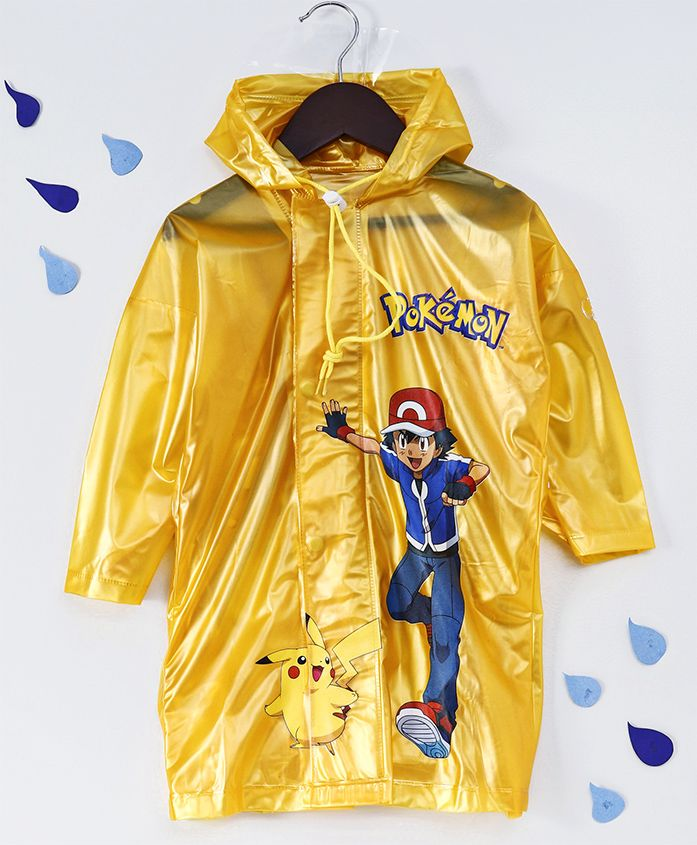 Babyhug Full Sleeves Hooded Raincoat Pokemon Print - Yellow