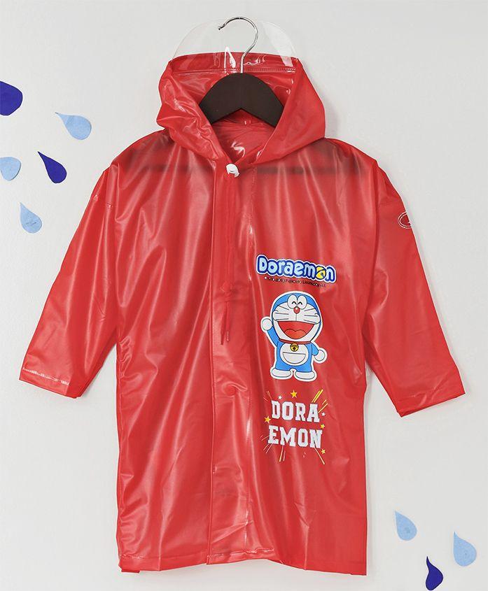 Babyhug Full Sleeves Hooded Raincoat Doraemon Print - Red