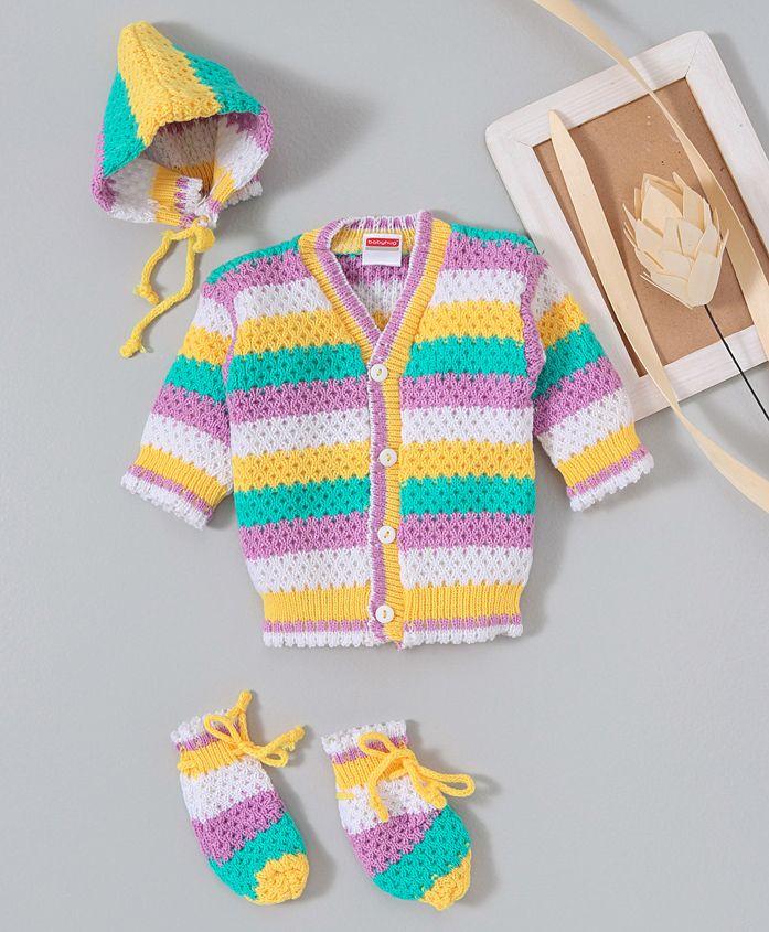 Babyhug Full Sleeves Sweater With Cap & Booties - Lemon & Multi Colour