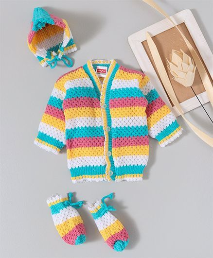 Babyhug Full Sleeves Sweater With Cap & Booties - Blue & Multi Colour