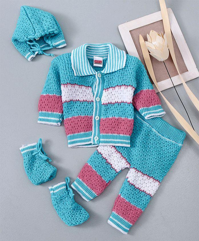 Babyhug Full Sleeves Sweater With Leggings Cap & Socks - Blue