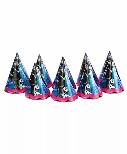 Funcart Frozen Themed Party Hats Pack of 10 - Blue Pink