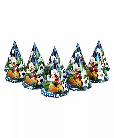 Funcart Mickey Mouse Themed Party Hats Pack of 10 - Multicolour