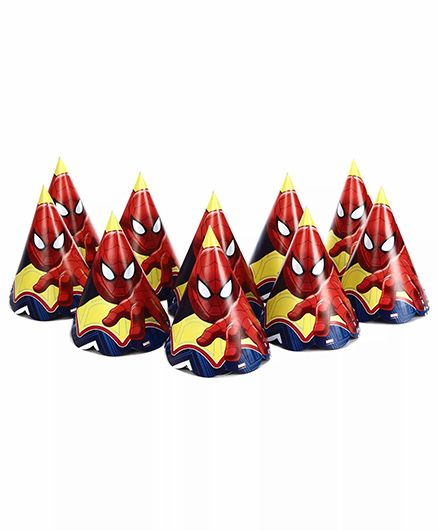 Funcart Spider Man Themed Party Hats Pack of 10 - Red Yellow