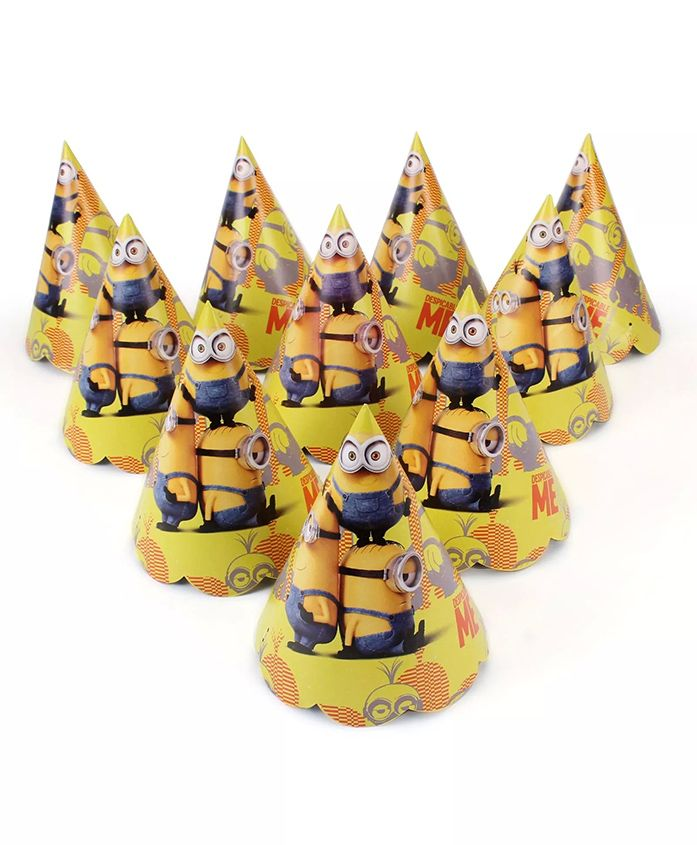 Funcart Minnions Themed Party Hats Pack of 10 - Yellow