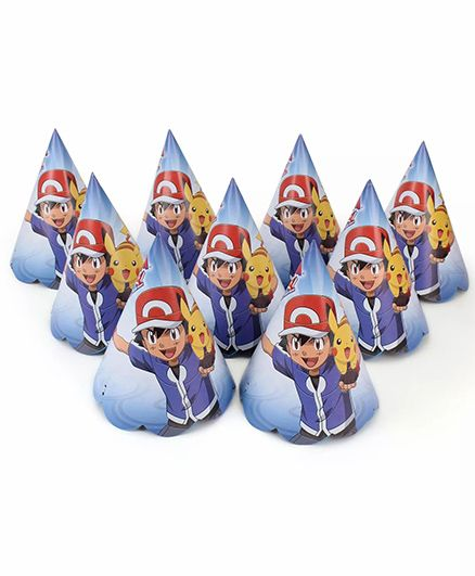 Funcart Pokemon Themed Party Hats Pack of 10 - Blue