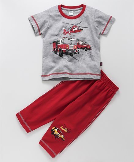 Teddy Short Half Sleeves T-Shirt & Lounge Pant Vehicle Print - Grey Red