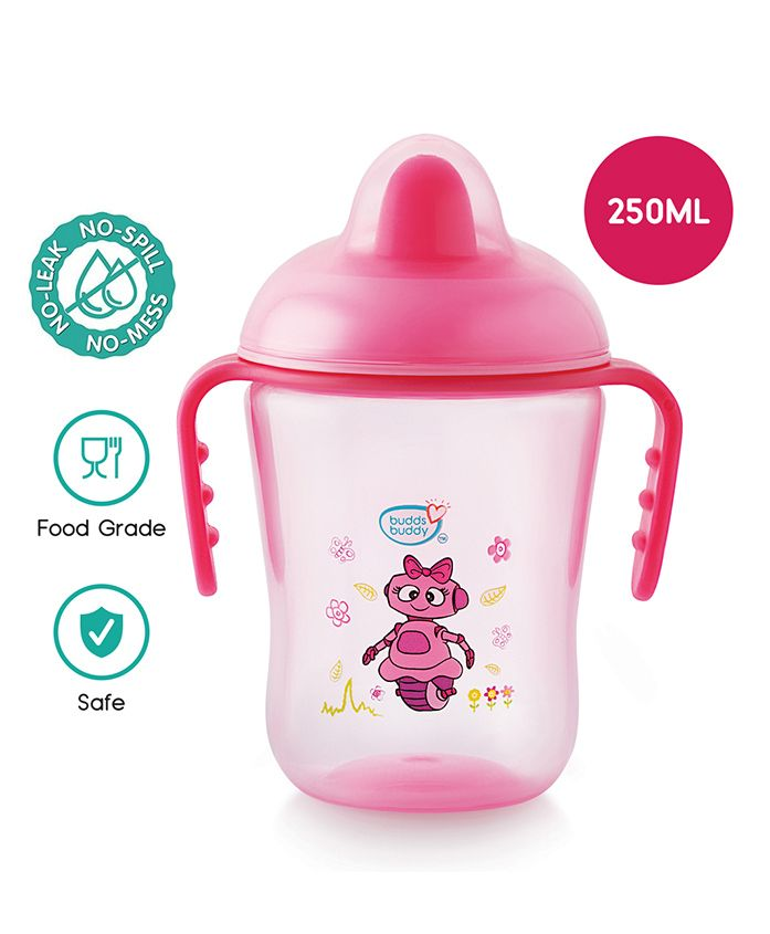 Buddsbuddy Premium Double Handle Cup With Hard Spout Pink - 290 ml