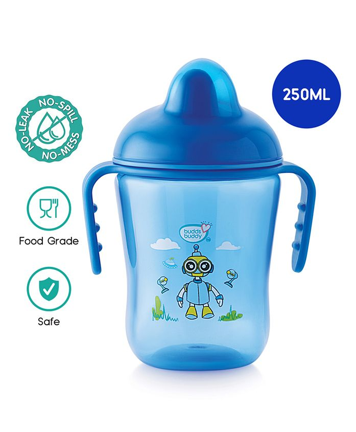 Buddsbuddy Premium Double Handle Cup With Hard Spout Blue - 290 ml