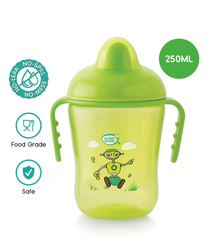 Buddsbuddy Premium Double Handle Cup With Hard Spout Green - 290 ml