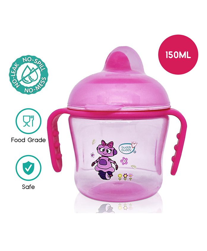 Buddsbuddy Premium Dual Handle Cup with Hard Spout Pink - 230 ml