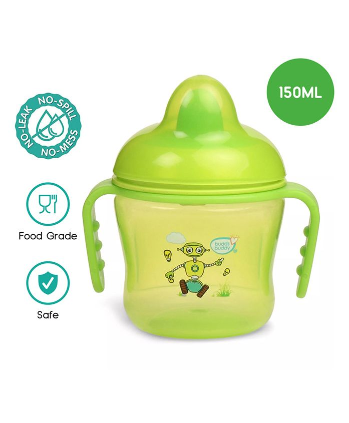 Buddsbuddy Premium Dual Handle Cup with Hard Spout Green - 230 ml