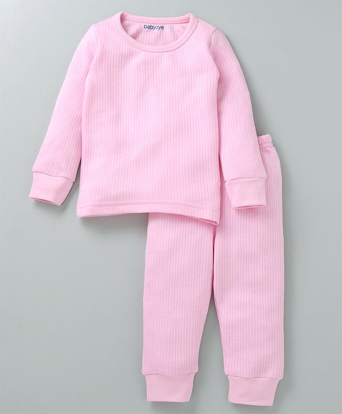 Babyoye Full Sleeves Thermal Tee And Bottoms - Pink